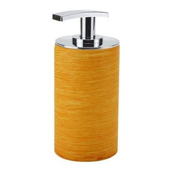Gedy - Free Standing Orange Soap Dispenser - Manufactured and designed in Italy, this orange soap dispenser is ideal for the contemporary style bathroom. It is made from high quality resins and has a chrome finished top. Place it on your countertop for easy use! European soap dispenser. Free standin