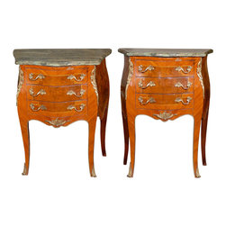 Consigned Pair of Louis XV Style Side Tables - Harken back to the Gilded Age with this pair of Louis XV style, burled walnut and kingswood side tables. Their serpentine marble tops will be the perfect surface for your foyer or sitting room, and you'll adore the gilt accents that feature French 19th-century artistry at its finest.