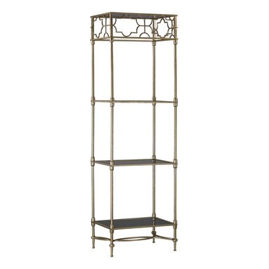Sterling Lighting - Sterling Lighting Moorish Style Shelving Rack - This collection showcases Moorish inspired stylish solutions for essential home storage and display. The patterns and frames are formed from fine metalwork and finished in an elegant antique gold. The shelves and console top are formed from sleek black glass adding a touch of glam to this traditionally inspired collection.
