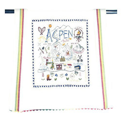 CATSTUDIO - Ski Aspen Dish Towel by Catstudio - This original design celebrates Ski Aspen.  This design is silk screened, then framed with ahand embroidered border on a 100% cotton dish towel/ hand towel/ guest towel/ bar towel. Three stripes down both sides and hand dyed rick-rack at the top and bottom add a charming vintage touch. Delightfully presented in a reusable organdy pouch. Machine wash and dry.