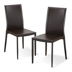 RED LIVING - Lucy Brown Dining room Chair Set - The Lucy Dining room Chair can be placed around any table thanks to its timelessness and comfort. This chair is upholstered in high quality bonded leather with a metal frame. Less is more with the Lucy Chair. Available in beige, brown, black or white.