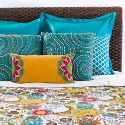 Rizzy Home - Rizzy Home Carmen 8 Piece Bedding Set - Youthful, charming warmth is created with this bedset, and its kaleidoscope pattern of flowers and shapes in a playful, bold pattern that has a distinctly energetic and colorful style. The funky, busy pattern and rich turquoise, gold, and red colors that stand out in this bedding set emphasize the cheerful and adventurous tone of the collection. With these materials, the cap bedding makes a vivid statement in a bedroom:All pieces made from 100 percent cottonKing Bedding Set includes: one (1) 114 x 98-inch filled duvet, three (3) 26 x 26-inch euro shams, two (2) 20 x 36-inch king pillow shams, two (2) different 18 x 18-inch accent pillows, and one (1) 11 x 21-inch throw pillowQueen Bedding Set includes: one (1) 96 x 98-inch comforter, two (2) 26 x 26-inch euro shams, two (2) 20 x 26-inch standard shams, two (2) different 18 x 18-inch accent pillows, and one (1) 11 x 21-inch throw pillowPillow sham inserts and headboard not includedMade in India