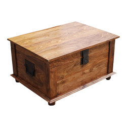 Sierra Living Concepts - Sierra Solid Wood Rustic Storage Trunk Box Coffee Table - Make your home decor a statement about your love of natural woods and simple design with the Sierra Solid Wood Rustic Storage Trunk Box Coffee Table. This rustic box style coffee table is made of Solid Indian Rosewood. Make the most out of your living space with this large storage trunk, perfect for the living room, bedroom or study. The magnificent wood grain patterns are brought out with the stain both inside and out of the storage chest. Note the careful attention to details.