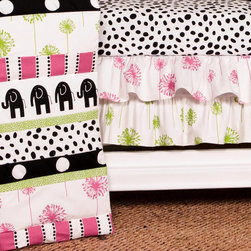 Cotton Tale Designs - Hottsie Dottsie 3 Pc Crib Bedding Set - A quality baby bedding set is essential in making your nursery warm and inviting. All Cotton Tale patterns are made using the finest quality materials and are uniquely designed to create an elegant and sophisticated nursery. The Hottsie Dottsie 3 pc set includes dust ruffle, fitted crib sheet, and coverlet. This collection is 100% cotton. Graphic, fun, contemporary. Black elephants with hot pink and green accents. The channel quilted comforter in 6 fun fabrics, sheet in white with black spots. The dust ruffle is double shirred in pink and green floral. makes a smashing nursery. Wash gentle cycle, separate, cold water. Tumble dry low or hang dry. Fun crib bedding for your special girl. NO BUMPER INCLUDED IN THIS SET.