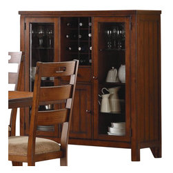 Homelegance - Homelegance Clayton Glass Door Curio with Wine Rack in Dark Oak - The Homelegance Clayton Glass Door Curio with Wine Rack in Dark Oak provides homeowners with an elegant wine storage option that complements almost any decor. Pine veneers and dark oak finish enhance the clean lines of this piece. The coordinating china curio cabinet sets off the wine rack and adds balance. Attractive planking adds texture to the piece and provides it with a classic look.