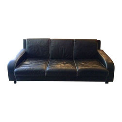 "Pace Vintage Black Leather Sofa - Vintage three seat Pace sofa for sale in black leather. The sofa is called ""The Dandy"" and was manufactured in Italy by I4 Mariani by Pace. The leather is a bit worn but has been used exclusively in the seller's home. The perfect piece for a modern, masculine look!"