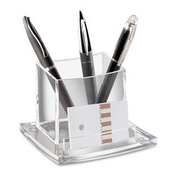 CEP - CEP AcryLight Refined Pencil Cup Holder - 3.5 x 4.5 x 4 - Acrylic - 1 Each - Sleek, refined pencil cup has been created and sculptured to capture light and add elegant professionalism to your desktop. Part of the AcryLight desk accessory collection, this high-quality, versatile holder is large enough to hold a mobile phone or up to 25 pens in the main box. A compartment at the front of the base can store up to 50 business cards or a pad of self-adhesive notes. The antislip pads on the bottom protect the desk. Acrylic material is recyclable.