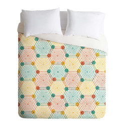 DENY Designs - DENY Designs Sam Osborne Hexagon Weave Duvet Cover - Lightweight - Turn your basic, boring down comforter into the super stylish focal point of your bedroom. Our Lightweight Duvet is made from an ultra soft, lightweight woven polyester, ivory-colored top with a 100% polyester, ivory-colored bottom. They include a hidden zipper with interior corner ties to secure your comforter. It is comfy, fade-resistant, machine washable and custom printed for each and every customer. If you're looking for a heavier duvet option, be sure to check out our Luxe Duvets!