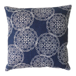 Navy Ikat Medallion Decorative Pillow Cover - One decorative pillow cover made to fit a size 18x18 insert. Navy hand-stamped medallion patterned linen. The same fabric is placed on the both the front and back and is finished with a concealed bottom zipper. Pillow insert is not included.