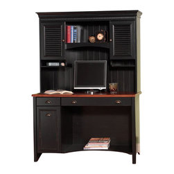 "Bush - Bush Stanford 48"" Wood Computer Desk with Hutch and File Cabinet in Antique Blac - Bush - Office Sets - WC5391803PKG - Bush Stanford 48"""""""" Wood Computer Desk with Hutch and File Cabinet in Antique Black and Hansen Cherry"