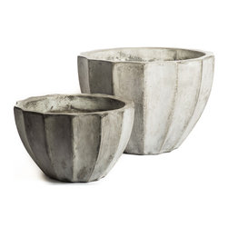 Repose Home - Alto Planter, Charcoal Grey, Large - This beautiful Elliptic planter is cast from cement and natural fiber for added strength while keeping a lightweight feel for versatile use. Artfully showcase garden greenery with its gorgeous organic tone.