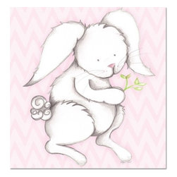 "Doodlefish - Bonny Bunny Pink - Bonny Bunny is an 18"" x 18"" Gallery Wrapped Giclee Print that is a mix of graphical elements and a drawing of a precious little bunny with a cottontail and long whiskers.  Choose the background color and the background pattern to match your child's room,  Add your child's name or even your favorite pet.  This artwork is also available mounted in a painted frame of your choice.    The finished size of the mounted piece is approximately 22""x22""."