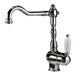 WS Bath Collections - Melissa Kitchen Sink Faucet - The spout on this spectacular faucet looks like a question mark (on its side), yet there's no question the fixture makes an assured statement. You get a look that combines substantial components with graceful lines.