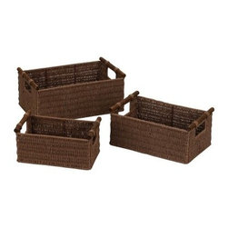 Household Essentials Paper Rope Baskets with Wood Handles - Set of 3 - Rich Brow - Make your organizing more mobile with Household Essentials Paper Rope Baskets with Wood Handles - Set of 3 - Rich Brown. This set of three baskets is perfect for those projects in need of transport. Store linens books toys and more in these baskets then carry them from room to room. Why? Because you can! The elegant clean lines of these baskets accentuate any and every home and the durable frame and strong design will keep these baskets usable for a long time to come. We like to store our favorite baskets in them. The rich brown finish of the baskets will bring you to your knees which is perfect for cleaning!About Household Essentials.Household Essentials is a bold bright and innovative company working hard to bring you the foundations and modern innovations of laundry and storage essentials. Over 200 years of experience provide the company with the vision necessary for creating the perfect products for you and the credentials worthy of winning Cradle to Cradle's Silver Certification. Let Household Essentials accompany you into the future while offering you the means to have a wonderfully efficient home today.