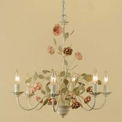 Ramblin Rose Antique Cream with Pink Six-Light Chandelier