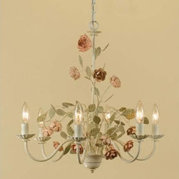 Ramblin Rose Antique Cream with Pink Six-Light Chandelier - For the classic vintage-chic girl's room, this chandelier looks like it's straight out of an American Girl story.