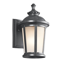 """Kichler Lighting - Kichler Lighting Ralston Transitional Outdoor Wall Sconce X-KB90494 - A cast Aluminum material and the past is the inspiration for this Ralston Transitional Outdoor Wall Scone by Kichler Lighting Inspired by an old lantern design this fixture measures in at a height of 10.5"""" and has a capacity for (1) 75W A Type incandescent light fitting. . With a Painted Black finish, this design is gracefully complemented by a Satin Etched glass shade."""