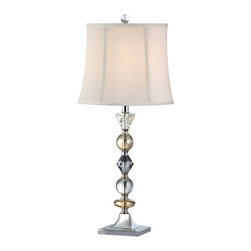 Ashford Classics Lighting - Symphony Crystal Table Lamp with Silk Empire Shade - 2222 - Varied hues of clear, amber, and purple crystals add an eclectic, yet elegant touch to an end table, console, or nightstand. The white empire silk lamp shade measures 10-1/2-inches on the top by 12-1/2-inches on the bottom by 10-1/2-inches in height. Takes (1) 150-watt incandescent A21 bulb(s). Bulb(s) sold separately. UL listed. Dry location rated.
