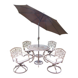 Oakland Living - 7-Pc Traditional Rockers Set - Includes table, four swivel rockers with cushions, 9 ft. tilt crank umbrella with stand and metal hardware. Handcast. Umbrella hole table top. Fade, chip and crack resistant. Traditional lattice pattern and scroll work. Hardened powder coat. Rust free. Warranty: One year limited. Made from cast aluminum. Antique bronze finish. Minimal assembly required. Table: 42 in. Dia. x 29 in. H (44 lbs.). Chair: 23 in. W x 17.5 in. D x 38 in. H (33 lbs.)The Oakland Mississippi Collection combines southern style and modern designs giving you a rich addition to any outdoor setting. This dining set is the prefect piece for any outdoor dinner setting. Just the right size for any backyard or patio.