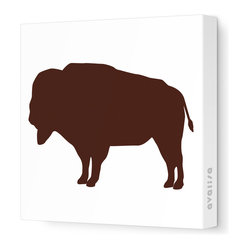 "Silhouette - Buffalo Stretched Wall Art, 12"" x 12"", Brown"