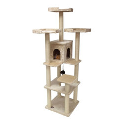 "MAJESTIC PET PRODUCTS - 80"" Casita Cat Tree - Every king needs a castle, a princess her palace. The same is true for a pet. This grand condo for your kitty features several platforms for prime playtime. There's even a feathery friend to keep things exciting around the stomping ground — or would that be the pouncing ground?"