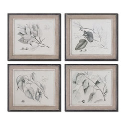 Sepia Leaf Study Wall Art, Set of 4 - *These Oil Reproductions Feature A Hand Applied Brushstroke Finish. Artwork Is Accented By Light Tan Burlap Mats And Heavily Distressed Black Frames With A Gray And Taupe Wash. The Inner Lip And Liner Of Each Frame Has A Medium Wood Tone Base With A Heavily Distressed, Painted White Finish Topped Off With A Gray And Taupe Glaze.