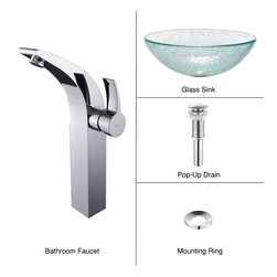 Kraus - Kraus C-GV-500-12mm-14700CH Broken Glass Vessel Sink and Illusio Faucet - Add a touch of elegance to your bathroom with a glass sink combo from Kraus