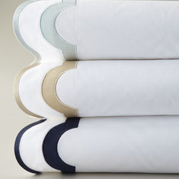 "Horchow - ""Mirasol"" Bed Linens - White bed linens of 600-thread-count Egyptian cotton percale woven in Italy feature sateen-tape trim and optional embroidered three-initial monogram in style shown on select pieces. For embroidery/monogram color, specify Champagne, Opal, or Navy. Solid...."