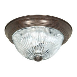 """Nuvo Lighting - Nuvo Lighting 76/608 Three Light 15"""" Flush Mount Ceiling Fixture with Clear Ribb - Nuvo Lighting 76/608 Three Light 15"""" Flush Mount Ceiling Fixture with Clear Ribbed Glass Shade, in Old Bronze FinishNuvo Lighting 76/608 Features:"""