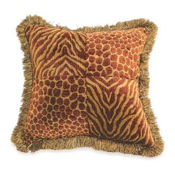 "Canaan - Animal Chenille Rust Tiger / Jag Pattern Print 20"" x 20"" Throw Pillow - Animal chenille Rust tiger / Jag pattern print 20"" x 20"" throw pillow with brush fringe trim. Measures 20"" x 20"" made with a blown in foam. These are custom made in the U.S.A and take 4-6 weeks lead time for production."