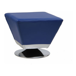 Inova Team -Modern Leather Blue Ottoman - Nothing will give you major design cred like this cubist's take on the leather ottoman. A round silver base gives it a sleek finish.