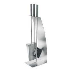 Blomus - Chimo 4 Pc Fireplace Tool Set with Bow Front - Includes brush, poker, tongs and holder. Rubber handles. Made of stainless steel. Designed by Andre Gilli. 1-Year manufacturer's defect warranty. 8.10 in. L x 5.93 in. W x 25.48 in. H