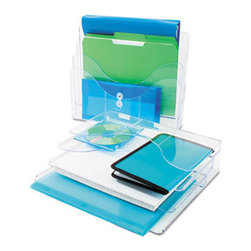 deflect-o - Three-Tier Document Organizer, Plastic, 13 3/8 X 3 1/2 X 11 1/2, Clear - Ultra-versatile organizer can be used three ways: lay it flat, stand it upright, or mount it on the wall to recoup your valuable desk space. Open-ended design allows use with letter, legal and oversized documents or files. Ribs in bottom of each section eliminate slumping. Plastic. Desktop File Folder Sorter Type: Vertical File Sorter; Number of Compartments: 3; Material(s): Plastic.