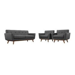 "LexMod - Engage Armchairs and Loveseat Set of 3 in Gray - Engage Armchairs and Loveseat Set of 3 in Gray - Gently sloping curves and large dual cushions create a favorite lounging spot. Whether plopping down after a long day at work, settling in with coffee and brunch, or entering a spirited discussion with friends, the Engage sofa is a welcome presence in your home. Seven tufted buttons create eye catching appeal; adding depth that brings your sitting decor to center stage. Four cherry color rubber wood legs and frame supply a solid base to the comfortablt upholstered material. Set Includes: One - Engage Loveseat with wood Legs Two - Engage Armchairs with wood Legs Cherry color rubber wood, White plastic glides, 100% polyster material, Chair Weight Capacity - 440 lbs Overall Product Dimensions: 111""L x 123""W x 32.5""H Armchair Dimensions: 40""L x 33""W x 32.5""H Loveseat Dimensions: 78""L x 33""W x 32.5""H Armrest Dimensions: 4.5""W x 6.5""H Cushion Thickness: 6""H - Mid Century Modern Furniture."