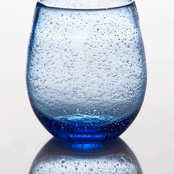 Stemless Wine Glass - Light Blue - Serve wine spritzers to your friends for game night in a glass that is both elegant and fun. The Tutti Frutti stemless Wine Glass has playful bubbles that dance upon its entiretly beautifully. This collection is one that is ideal for everyday use and looks lovely perched inside your glass door cabinets.