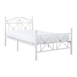 Modway Furniture - Modway Cottage Bed Frame in White - Bed Frame in White belongs to Cottage Collection by Modway Calming simplicity beams from the high gloss white finish of the Country Cottage Bed Frame. Upright metal posts topped with round ball finials add a quaint and relaxed look, while a peaceful header and footer have a lattice work design that speaks serene. Set Includes: One - Country Cottage Iron Twin Bed Frame Bed Frame (1)
