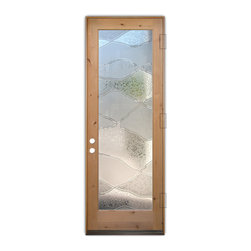 Sans Soucie Art Glass (door frame material T.M. Cobb) - Glass Front Entry Door Sans Soucie Art Glass Abstract Hills 3D - Sans Soucie Art Glass Front Door with Sandblast Etched Glass Design. Get the privacy you need without blocking light, thru beautiful works of etched glass art by Sans Soucie!  This glass is semi-private.  (Photo is view from outside the home or building.)  Door material will be unfinished, ready for paint or stain.  Bronze Sill, Sweep and Hinges. Available in other finishes, sizes, swing directions and door materials.  Tempered Safety Glass.  Cleaning is the same as regular clear glass. Use glass cleaner and a soft cloth.