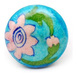 """Knobco - Flowers with Greenery, Turquoise, pink, green and white - Turquoise, pink, green and white floral decorative ceramic knob from Jaipur, India. Unique, hand painted cabinet knobs for your kitchen and bathroom cabinets. 1.5"""" in diameter. Includes screws for installation."""