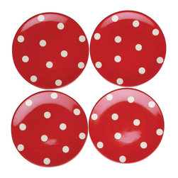 Tag Everyday - Polka Dot Appetizer Plates, Set of 4 - Perfect for that special someone. Dolomite. Hand painted. Dishwasher safe/ may get hot in microwave.
