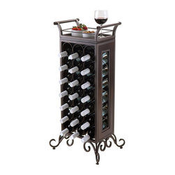 "Winsome Wood - Winsome Wood Silvano Wine Rack w/ Removable Tray in Dark Bronze - Silvano Wine Rack holds 21 bottles with a removable tray. Contructed from Metal in Dark Bronze Finish and wood for tray. Tray with handle size is 15.39""W x 10.35""D x 5.08H. Tray serving surface is 11.57""W x 6.93""D. Comes with adjustable foot for unevent floors. Wine Holder diamenter is 3.54"". Assembled wine rack is 18.15""W x 13.50""D x 37.87""H. Assembly Required. Wine Rack (1)"
