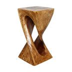 Kammika - Single Twist Vine Stool Sust Wd 12x12x23 inch H w Eco Frndly Livos Lite Teak Oil - Our Sustainable Wood Single Twist Vine 12 inch Square x 23 inch Height in with Eco Friendly Natural, Food-safe Livos Light Teak Oil Finish is a dual graceful single half twist creating the perfect display stand. The separation in the center of the twist shows off the internal wood grain and structure. Each piece is hand crafted, kiln dried, and elegantly finished to show off the beauty of the natural wood and craftsmanship of the piece. Carved from a single piece of sustainable, lustrous Monkey Pod wood, each Stool or Display Stand is a work of art itself; and it can be lit from above or below to show off the unique curves and grain of the piece. Each piece is hand carved from a solid piece of sustainable Monkey Pod wood. Skilled craftspeople from the Chiang Mai area in Northern Thailand create these one-of-a-kind pieces with the simplest of tools. After each stool is carved, kiln dried, and sanded, it is hand finished to enhance the woods natural luster and beauty. Each piece is a unique creation, and as such is more than a piece of furniture - it is a Work of Art, Environmentally Friendly Sustainable Wood Functional Art!. Our Stools and Display stands are the perfect enhancement to any decor. This elegant piece can serve as an end table, display stand, or a stool for last minute seating. These functional works of handmade art are designed as display stands for use stand alone or in groups. They can also serve as a temporary party stool, serving table, or bench when put together. Carved from a single piece of sustainable Monkey Pod wood, these unique pieces are appealing to the viewer from any angle. Sizes are approximate. Products could have visible marks from tools used, patches from small repairs, knot holes, natural inclusions, and/or worm holes. There will be various separations or cracks on your piece when it arrives. There will be some slight variation in size, color