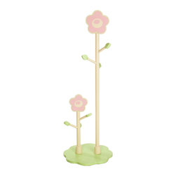 "Levels of Discovery - Rock-A-My-Baby Double Clothestand - Pretty pink flowered trees -- one for Mommy & one for baby to keep hats and clothing off the floorPink flowered trees. One for ""mommy"". One for ""baby"". All products have instructions included for assembly."