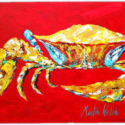 Caroline's Treasures - Crab Blue On Red, Sr. Kitchen Or Bath Mat 24X36 - Kitchen or Bath COMFORT FLOOR MAT This mat is 24 inch by 36 inch. Comfort Mat / Carpet / Rug that is Made and Printed in the USA. A foam cushion is attached to the bottom of the mat for comfort when standing. The mat has been permenantly dyed for moderate traffic. Durable and fade resistant. The back of the mat is rubber backed to keep the mat from slipping on a smooth floor. Use pressure and water from garden hose or power washer to clean the mat. Vacuuming only with the hard wood floor setting, as to not pull up the knap of the felt. Avoid soap or cleaner that produces suds when cleaning. It will be difficult to get the suds out of the mat