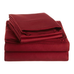 1500 Thread Count Cotton King Burgundy Solid Sheet Set - 1500 Thread Count 100% Cotton - King Burgundy Solid Sheet Set