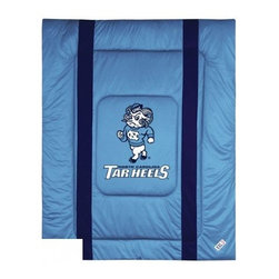 Sports Coverage - North Carolina Tarheels Bedding - NCAA Sidelines Comforter - Full - Show your team spirit with this great looking officially licensed North Carolina Tarheels comforter which comes in new design with sidelines. This comforter is made from 100% Polyester Jersey Mesh - just like what the players wear. The fill is 100% Polyester batting for warmth and comfort. Featuring authentic North Carolina Tarheels team colors, each comforter has the authentic North Carolina Tarheels logo screen printed in the center. Soft but durable. Machine washable in cold water. Tumble dry in low heat. Covers are 100% Polyester Jersey top side and Poly/Cotton bottom side. Each comforter has the team logo centered on solid background in team colors. 5.5 oz. Bonded polyester batts. Looks and feels like a real jersey!