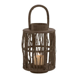 "Benzara - Attractive Round Shaped Wood Glass Lantern - Tired of looking at those old traditional lanterns? Then light up your home with this unique glass and wood lantern. This unique round shaped lantern features twigs design that are arranged around the glass candle holder which is placed within. It has a comfortable swivel handle for ease in carrying and a round wooden base for sturdiness. Place it in any corner of the room on a night stand and light the candle to spread a warm aura in your home. Your guests and visitors will surely adore this one of a kind home decor and praise your great choice.This candle holder decor is assured to be very durable and easy to clean. It can also double up as an excellent option for presenting to your family or friends. So grab this opportunity now to deck up your home with a unique beauty and aura. This round shaped lantern measures 9 inch (W) x 9 inch (D) x 18 inch (H); Made of wood and glass; Swivel handle with wood twigs design; Dimensions: 10""L x 10""W x 19""H"