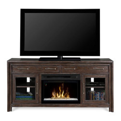 Dimplex - Dimplex Woolbrook Media Console with Electric Fireplace Multicolor - GDS25L-1415 - Shop for Fire Places Wood Stoves and Hardware from Hayneedle.com! A gorgeous furnishing for bedroom or TV room the Dimplex Woolbrook Media Console with Electric Fireplace provides visual delight both with and without its flame effect. Equipped with Dimplex's Multi-Fire XD technology this plug-in fireplace can simulate a wood-burning or gas flame or create a moody or energetic ambient light show. It also functions as an energy-efficient heater thanks to its unique Comfort$aver ceramic heating system which automatically adjusts its fan speed and heater wattage to cut down costs. Crafted from MDF and wood veneer in a wire-brushed nutmeg finish this spacious console includes two felt-lined drawers and two beveled glass doors with one adjustable shelf each.About DimplexDimplex North America Limited is the world leader in electric heating offering a wide range of residential commercial and industrial products. The company's commitment to innovation has fostered outstanding product development and design excellence. Recent innovations include the patented electric flame technology - the company made history in the fireplace industry when it developed and produced the first electric fireplace with a truly realistic wood burning flame effect in 1995. The company has since been granted 87 patents covering various areas of electric flame technology and 37 more are pending. Dimplex is a green choice because its products do not produce carbon monoxide or emissions.