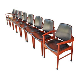 "Arne Hovmand Olson Teak Dining Chairs - Set of 8 - A set of 6 teak dining chairs plus 2 captain chairs by Arne Hovmand Olson. From Denmark, 1950's, with original black vinyl seats. Good vintage condition, with some small wear to vinyl on one seat and some vintage wear on the veneer. Get ready to expand your tabletop...this set of 8 is ready for dinner!  Dimensions:  6 Chairs: Height: 33.5"" Width: 19.75"" Depth: 19.5"" Seat Height: 17"" 2 Captain Chairs: Height: 33.5"" Width: 26.5"" Depth: 19.5"" Seat Height: 17"""