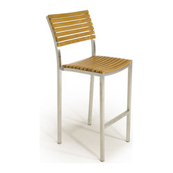 Westminster Teak Furniture - Vogue Teak and Stainless Steel Stacking Bar Stool - The Vogue stackable bar stool offers the beauty and durability of teak accentuated by the integrity of stainless steel for a timeless outdoor bar stool.
