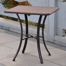Barcelona Wicker 28 in. Patio Bistro Table - The Barcelona Wicker 28 in. Patio Bistro Table is an easy way to start your morning off outdoors. Crafted from premium resin wicker, this contemporary square bistro table features a durable, rustproof aluminum frame. The stylish text weave design comes in a variety of colors so you can choose the table that best complements your patio, deck or outdoor space. The gentle curve to the legs counters the square table, making this table an eye-catching piece that will enliven any space.About International Caravan, Inc.For nearly half a century, International Caravan, Inc. has been scouring the world for unique furniture and home decor products to bring to the international market. Today, International Caravan, Inc. is ranked as one of the leading import and wholesale distributors in the nation. Their products can be found on the largest E-commerce websites as well as in America's leading retail stores.